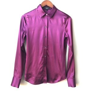 Theory Magenta Silk Fitted Stretch Button Up Shirt